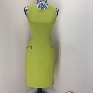 Calvin Klein chartreuse career zip sheath dress